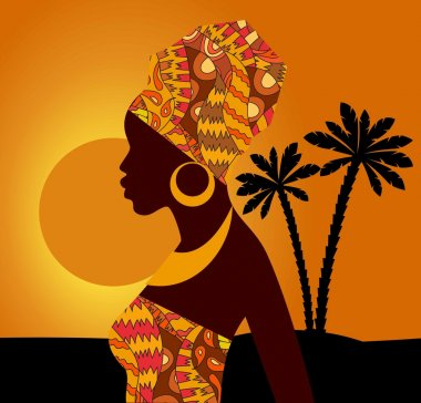 Tropical landscape. Beautiful black woman.African woman