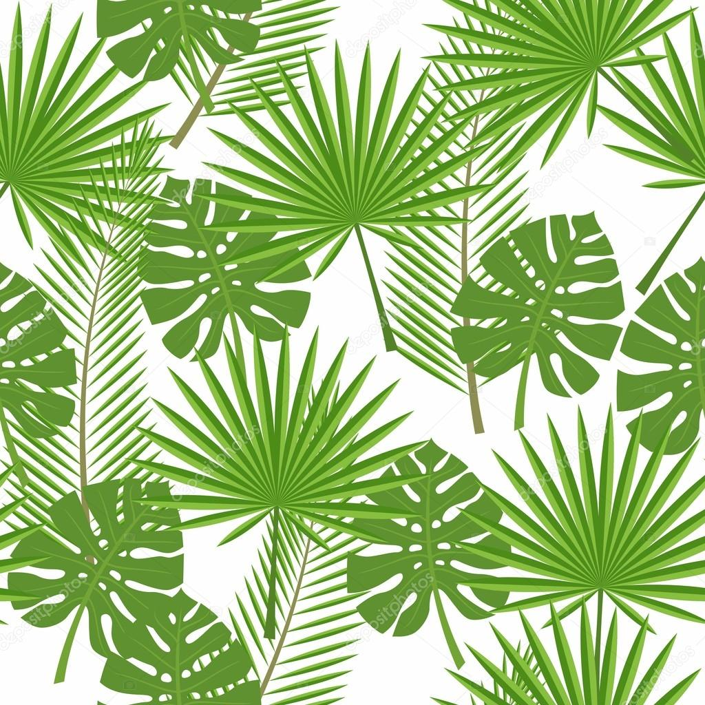 seamless tropical leaves - palm, monstera
