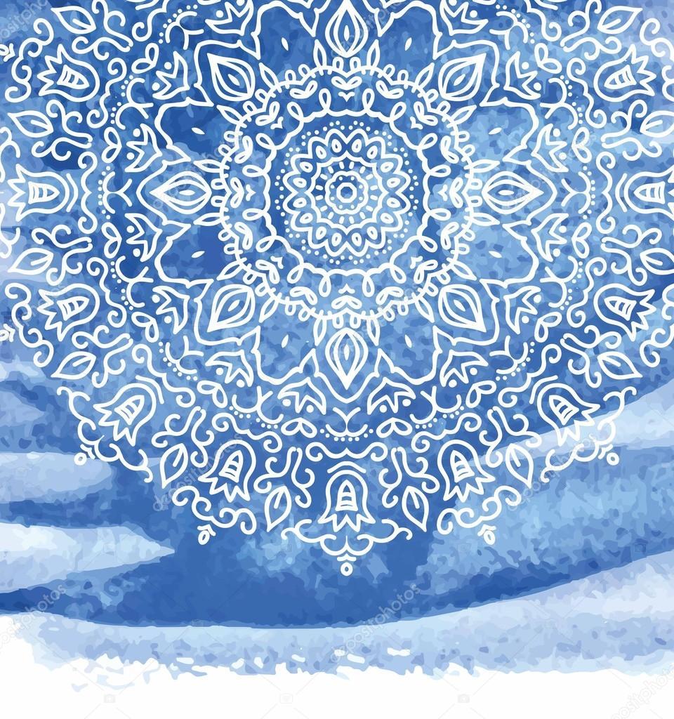Pinturas De Mandalas Fondo De Pintura Acuarela Azul Con Blanco - Pinturas-de-mandalas