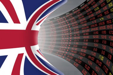 Flag of the United Kingdom with a large display of daily stock market price and quotations.