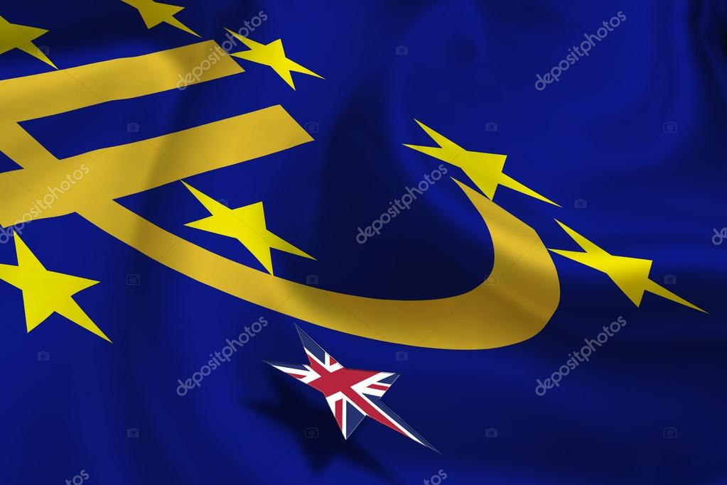 Brexit Silky Flag Of Euro Currency Symbol With 12 Yellow Gold