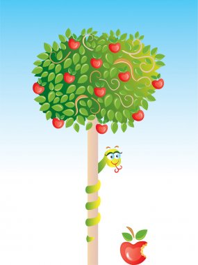 Apple-tree with snake vector