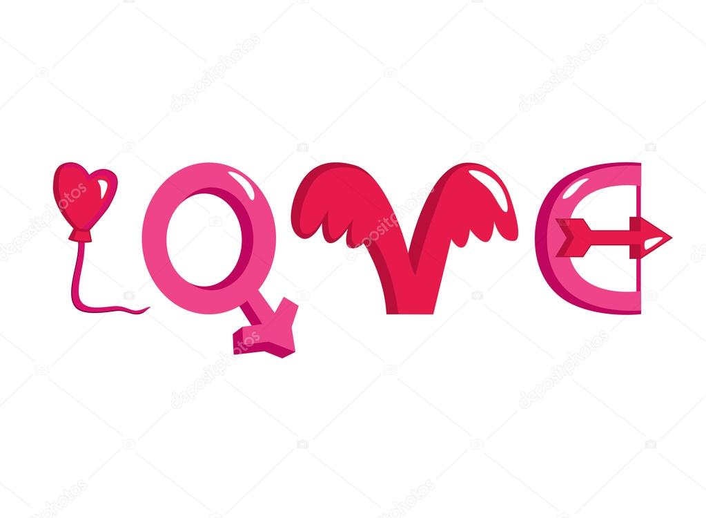 Word Love Made Of Different Love Themed Objects Stock Vector