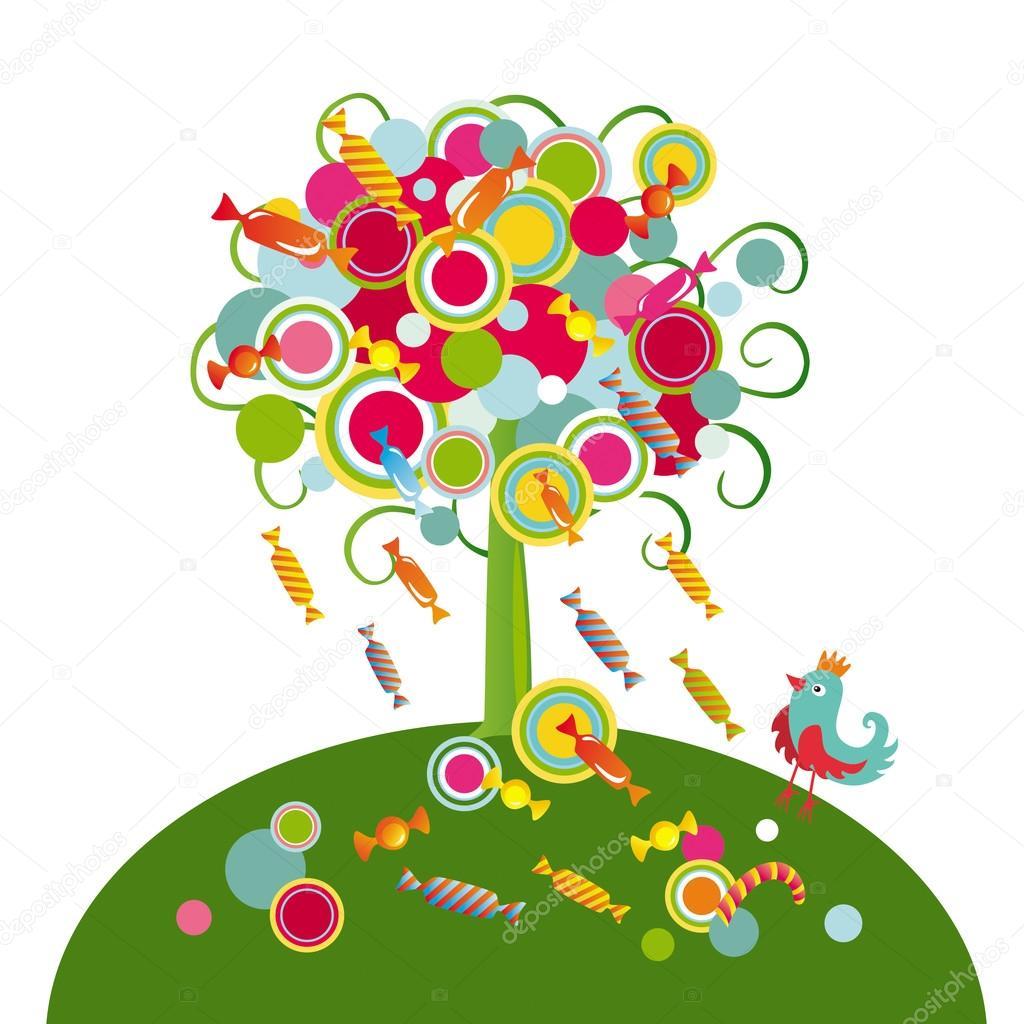 момент открытка конфетное дерево мебельном