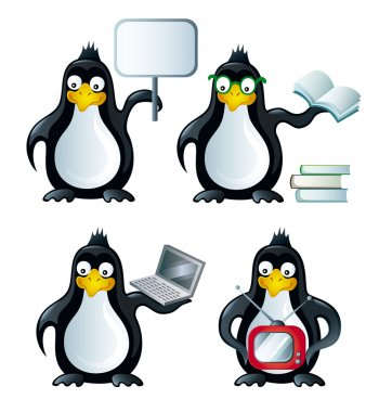 Set of icons with penguins vector