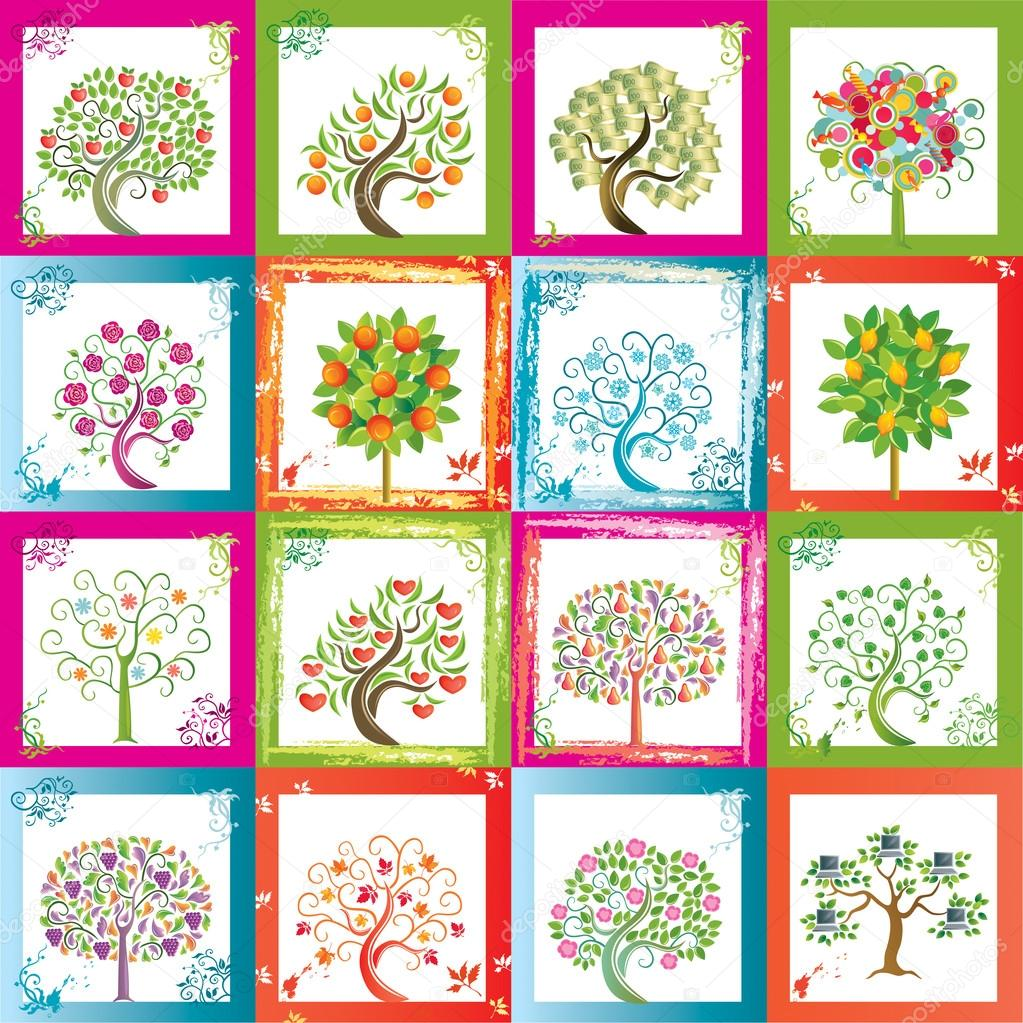 Sixteen original vector trees with frames that can go as seamles