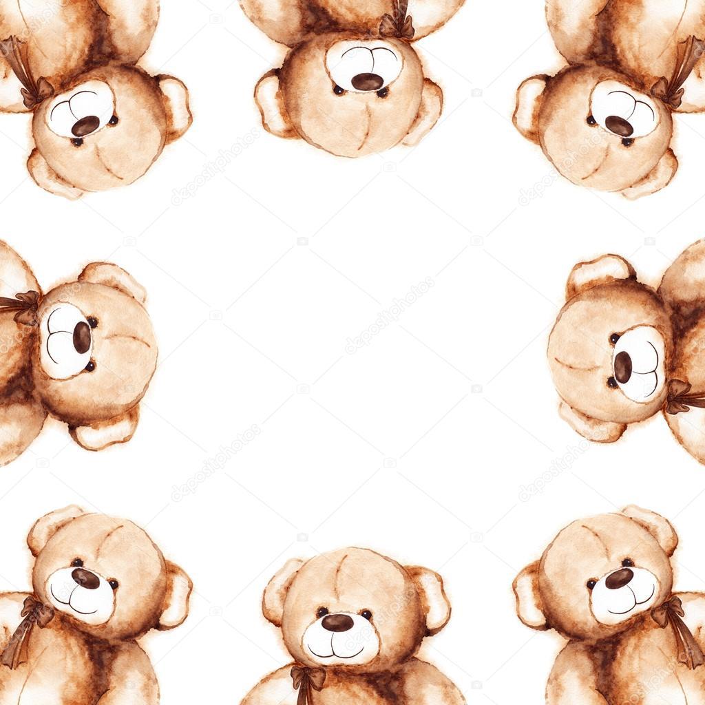Cartoon lovely Teddy Bear toy Saint Valentine\'s day frame — Stock ...
