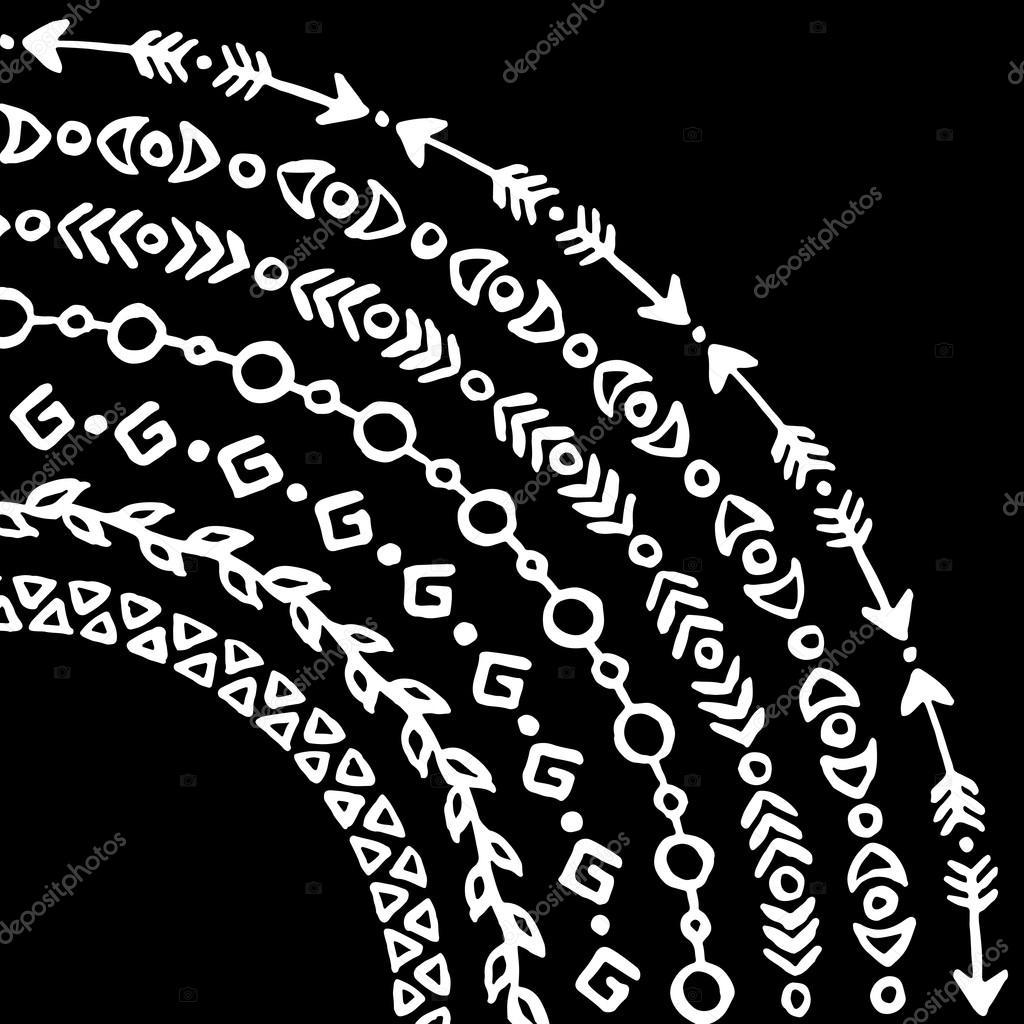 Black And White Monochrome Ethnische Tribale Bürsten Vektor Satz