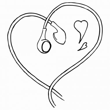 Monochrome earphones heart shaped love music line art isolated vector