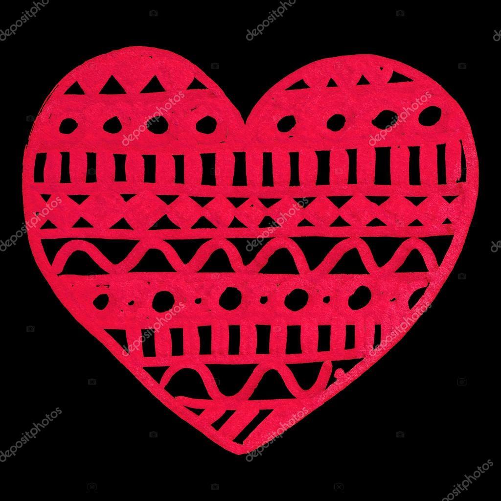 Zentangle handgezeichneten Doodle rotes Herz Tinte isoliert ...