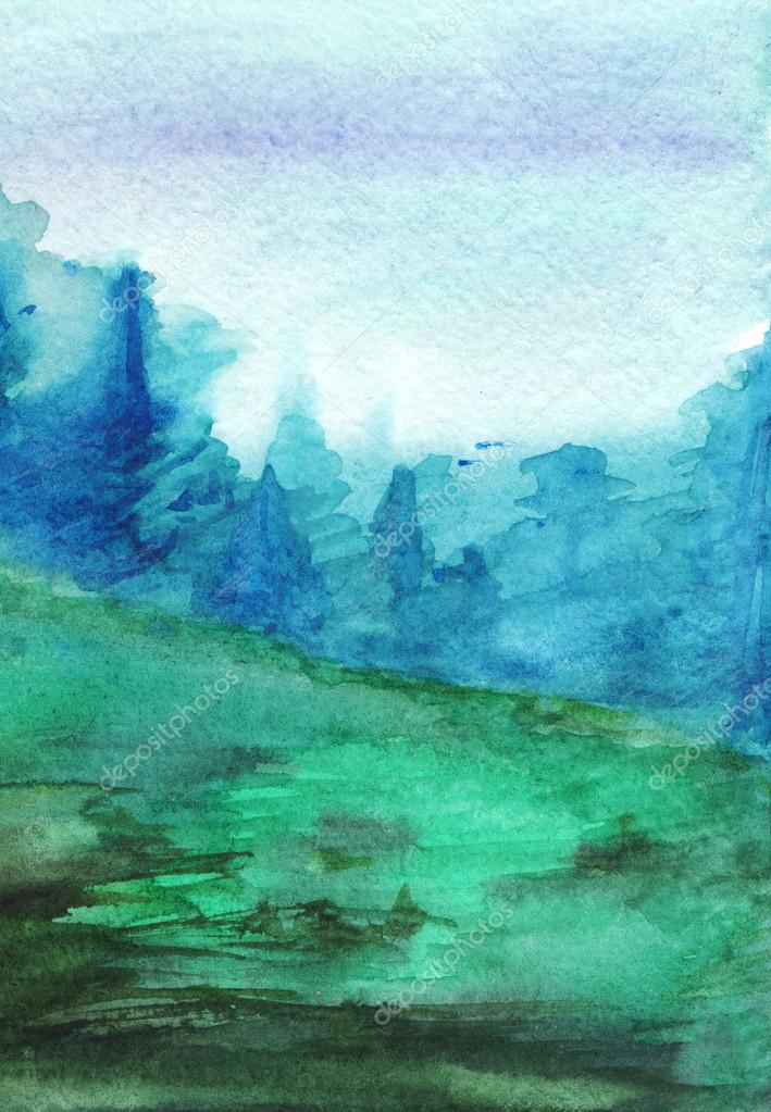 Watercolor navy blue green forest fog autumn wood landscape