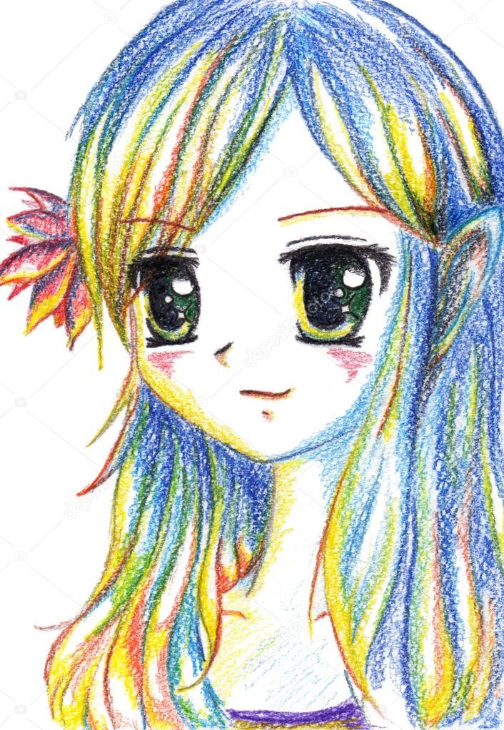 Fille de dessin anim kawaii manga anime color avec la fleur dans les cheveux photographie - Image de dessin anime ...