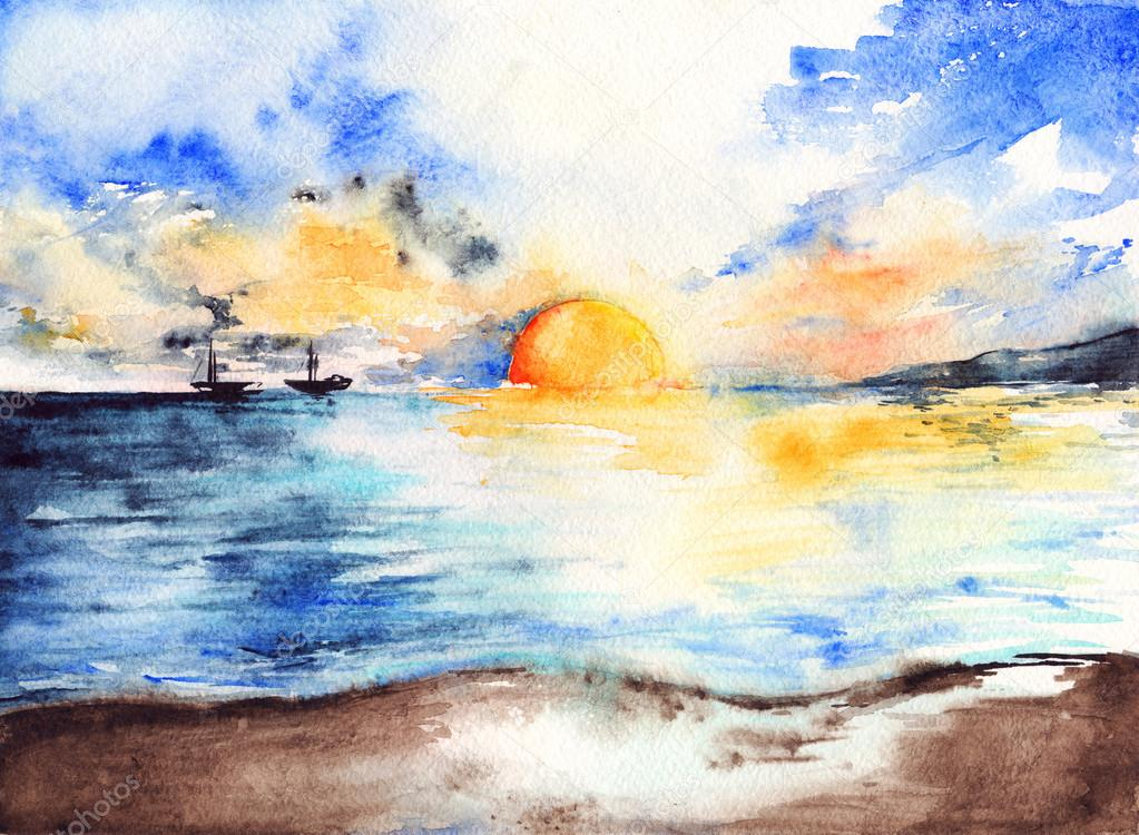 Watercolor sea ocean sunset bright ships landscape