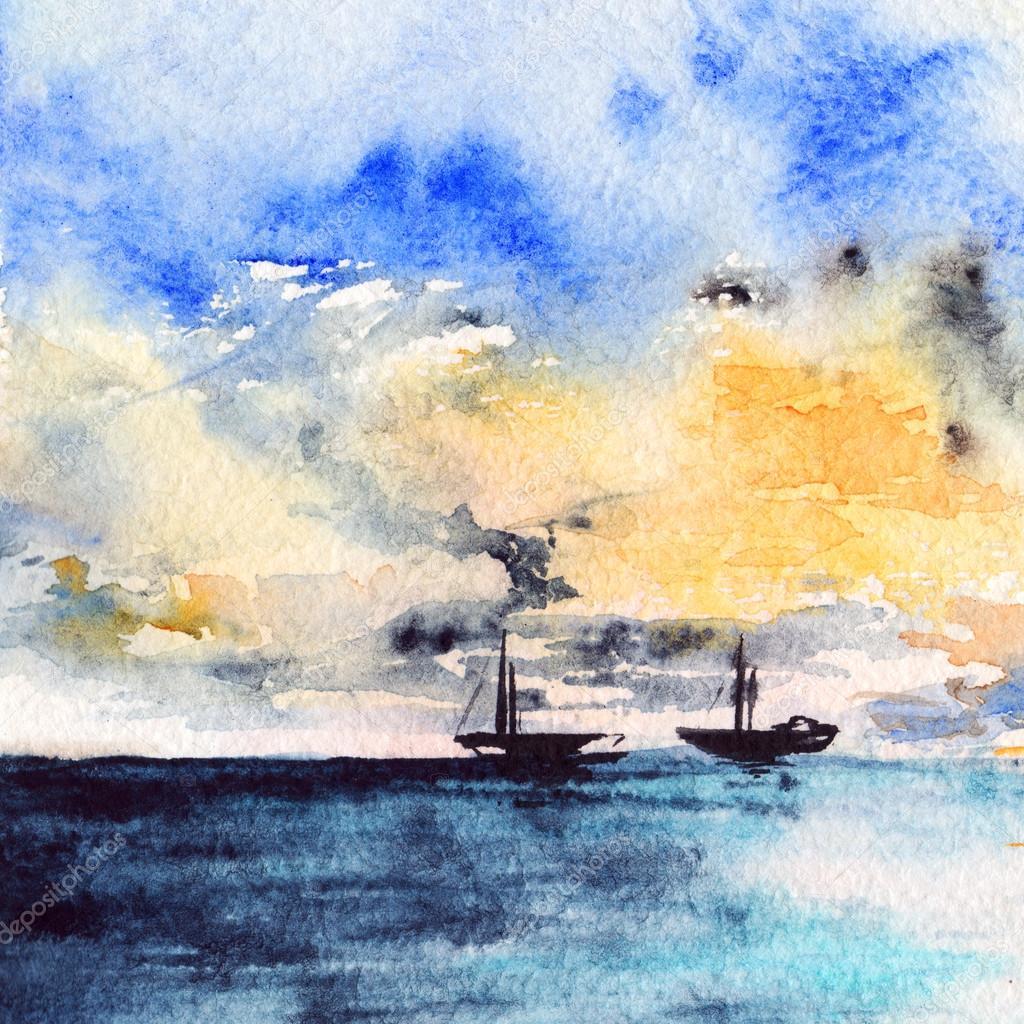 9e608e339 Watercolor sea ocean boat ship sunset bright landscape — Stock Photo ...
