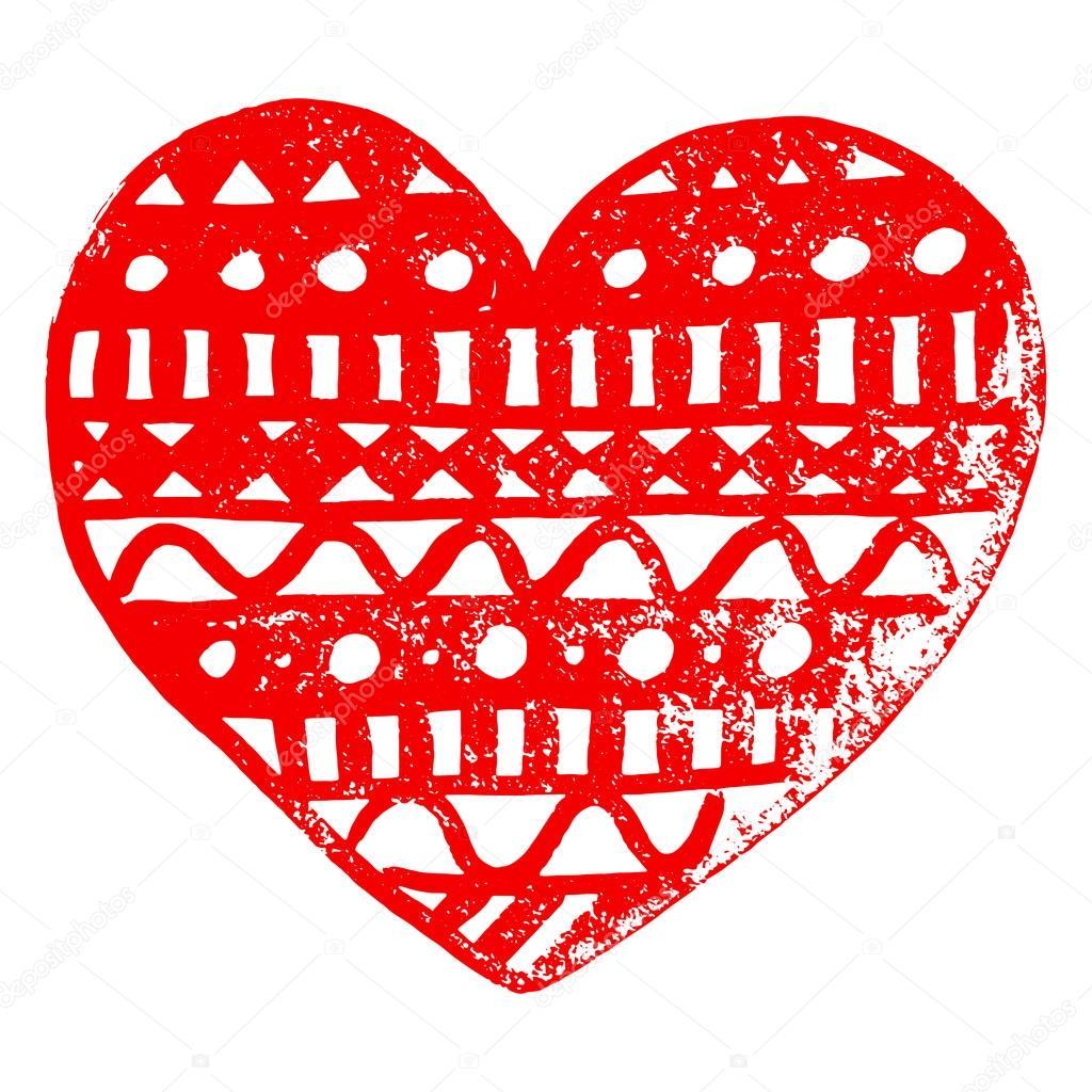 Zentangle doodle rotes Herz Tinte Hand gezeichneten Vektor isoliert ...