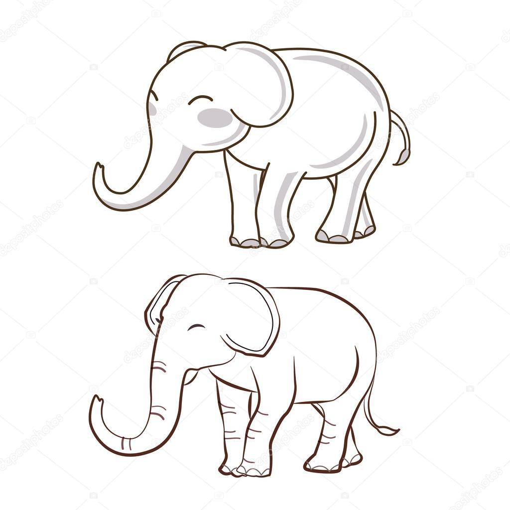 2 elephant cartoon vector u2014 stock vector ziemanz 101586006