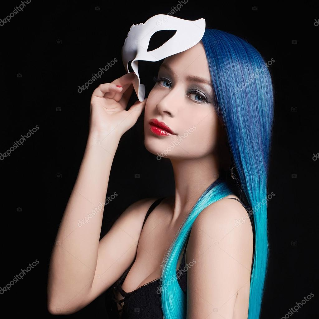 Halloween girl in mask and blue hair — Stock Photo © photoagents ...