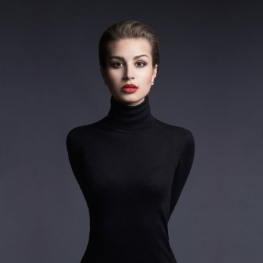 Beautiful woman.fashion portrait of a young brunette mode girll in a black roll neck jumper.sensual girl with short hair stock vector