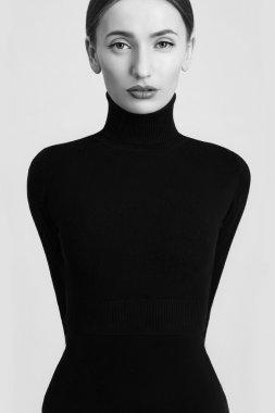 Fashion art beauty monochrome portrait.model girl in a black roll neck jumper.Sensual black and white woman stock vector