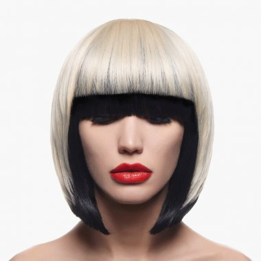 Beautiful woman with unusual bob