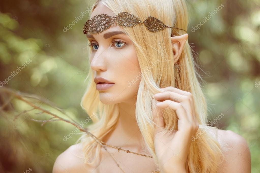 fantasy beautiful elf girl in woods