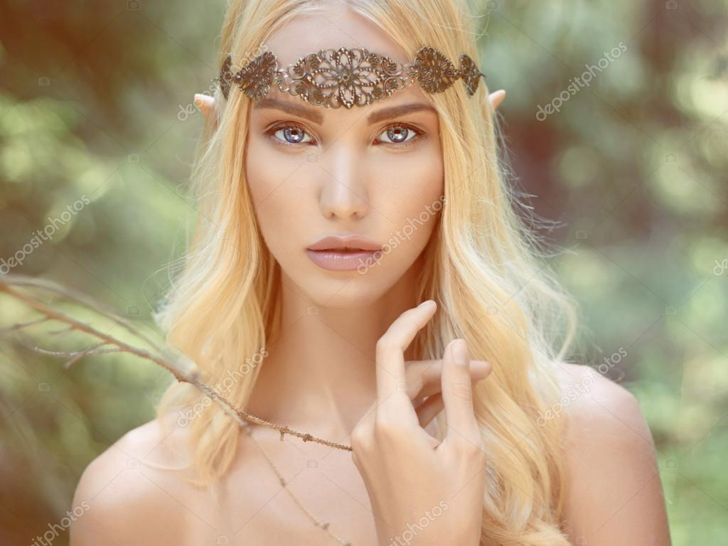 fantasy young woman in woods