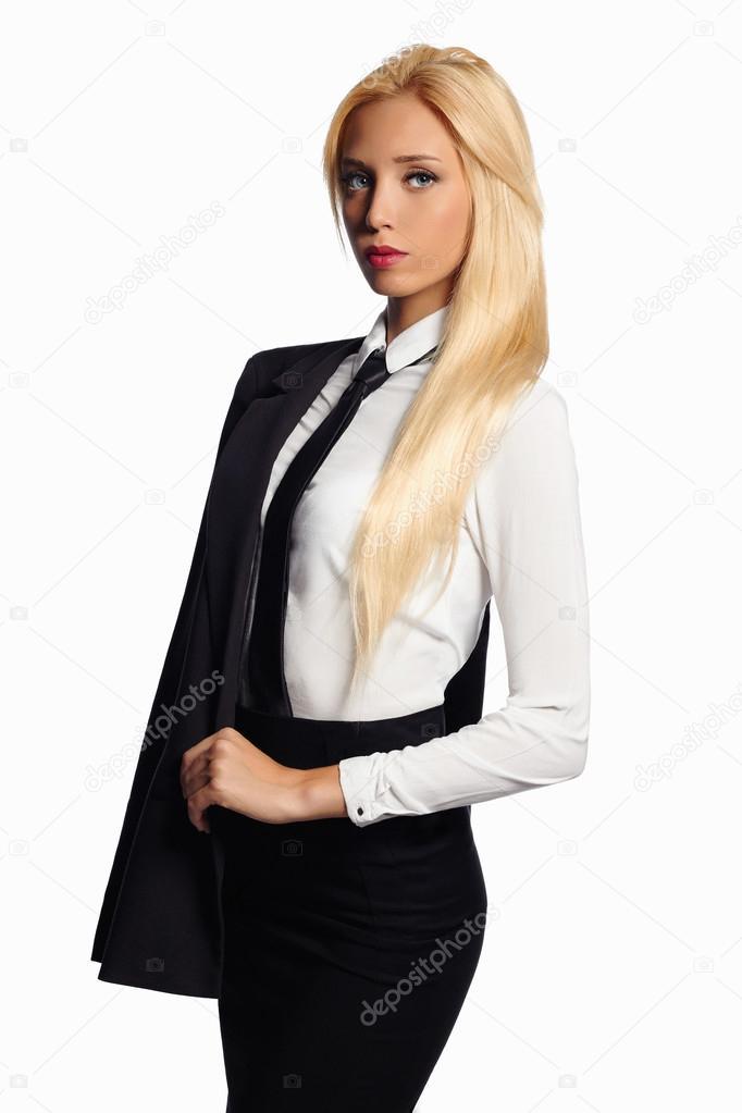 Сексуальная блондинка в строгом костюме
