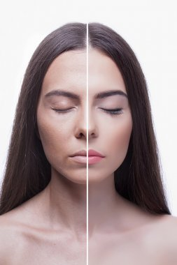 woman before and after make-up