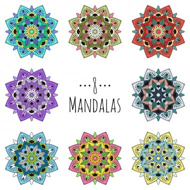 Seth mandalas. Collection of circular patterns. Colorful vector