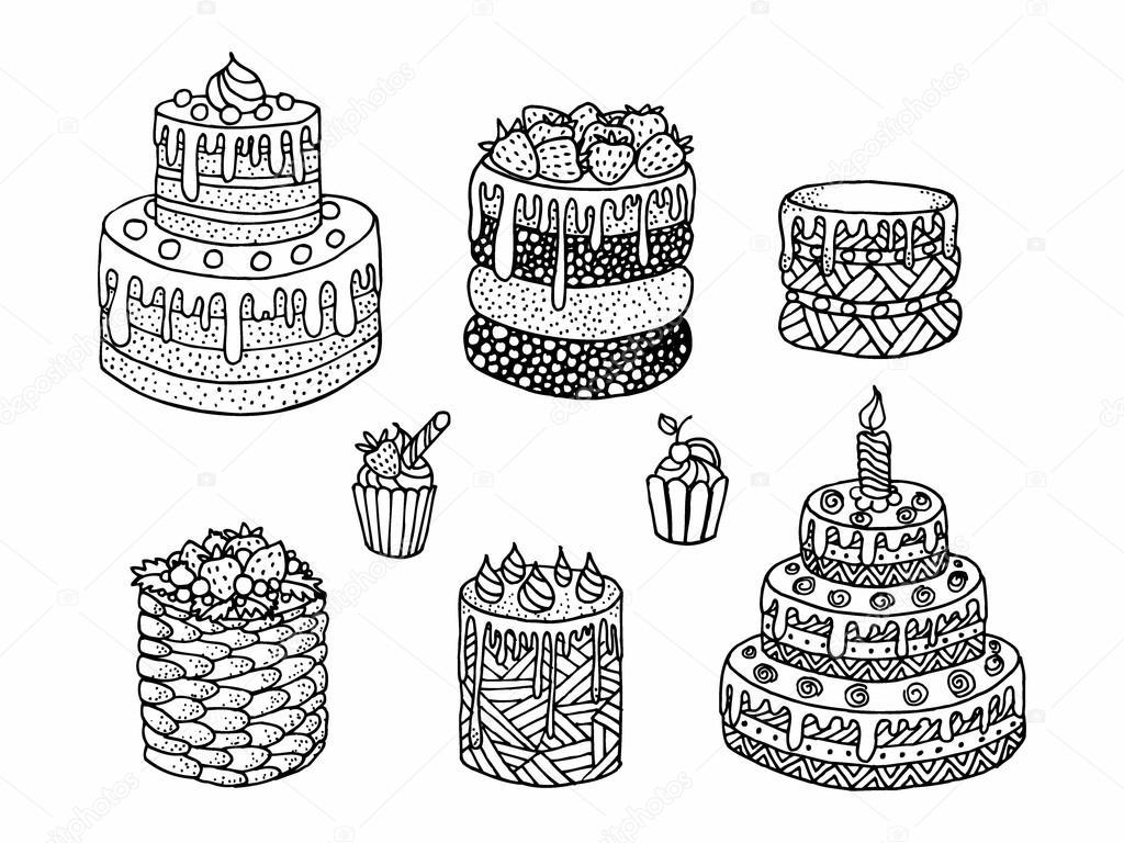 Cartoon Torte Doodle Schwarz Weiß Vektor Illustration Zeichnen