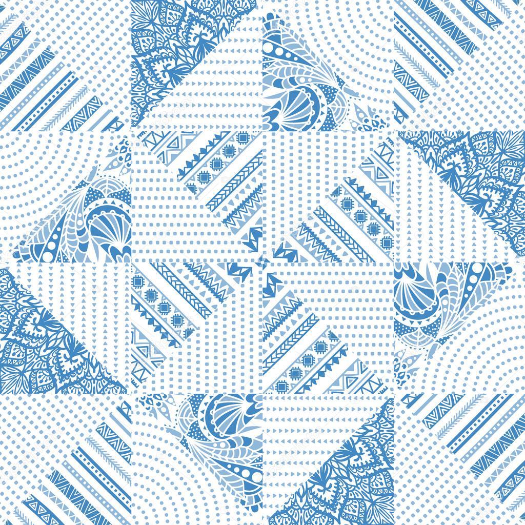 Modèle Sans Couture Patchwork De Triangles Image Vectorielle