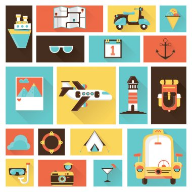 Flat design illustration icons set of traveling