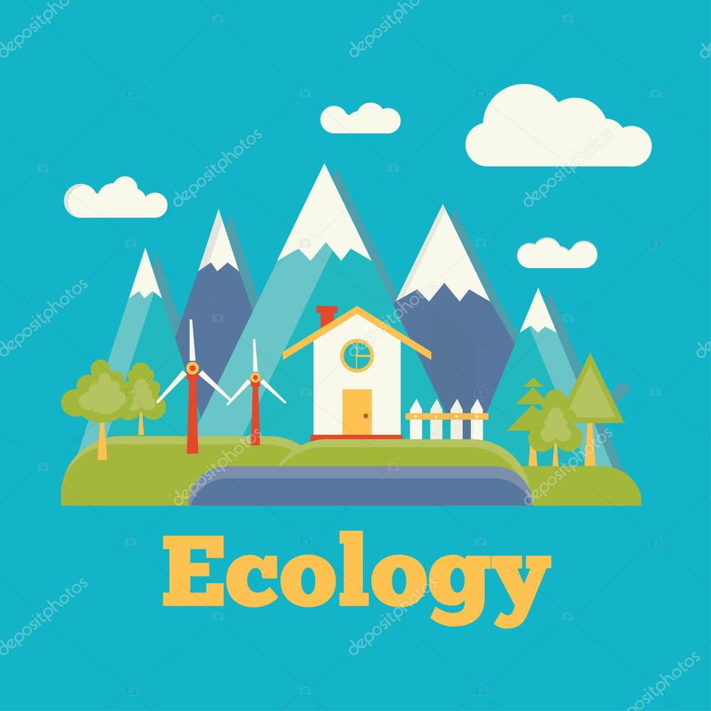 modern flat illustration of ecology house