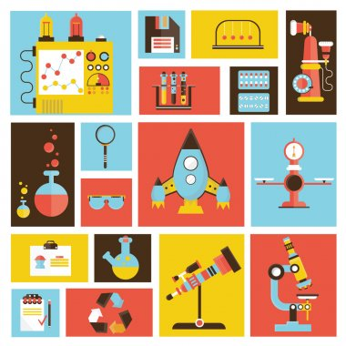 design style modern flat vector illustration icons set of science and technology development. Laboratory workspace