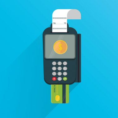 Modern vector illustration of POS payment terminal with credit card and printed reciept/