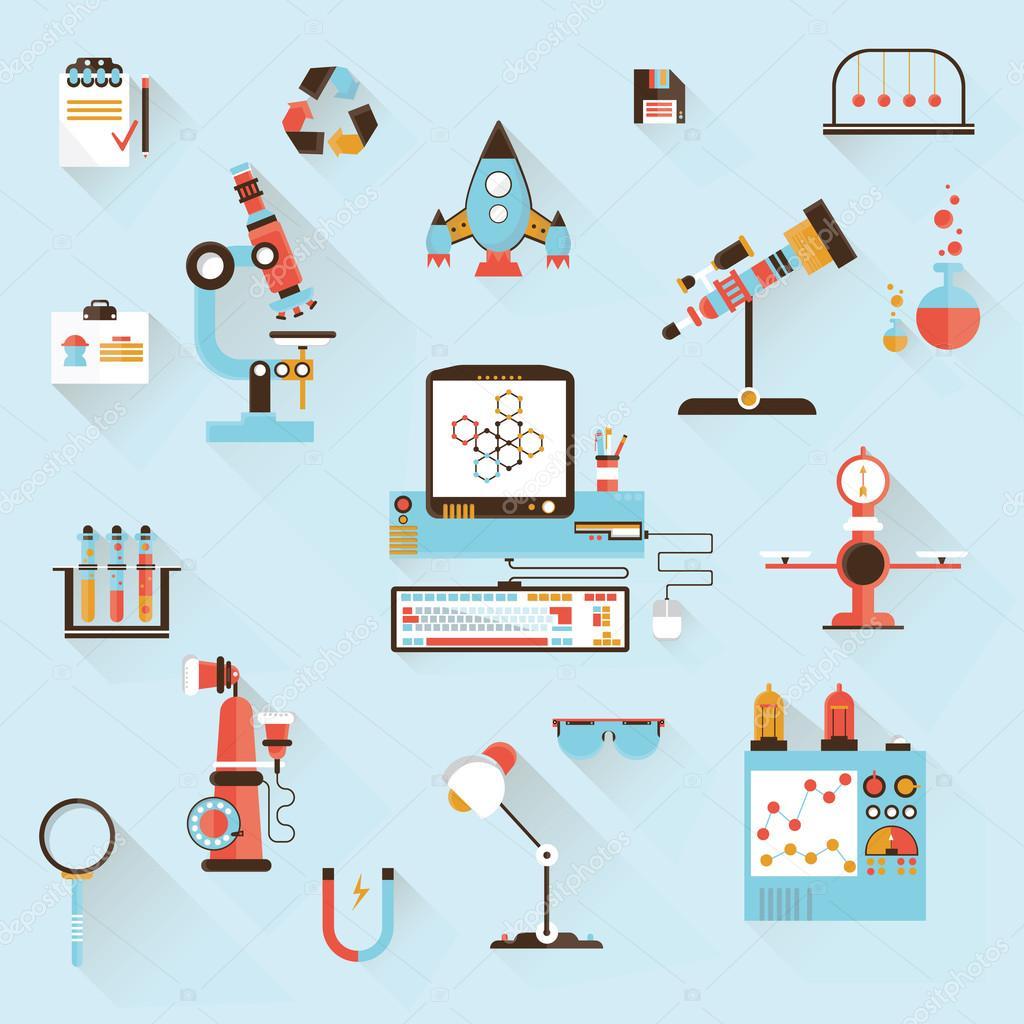 科学技術開発のデザイン スタイル モダンなフラット ベクトル イラスト