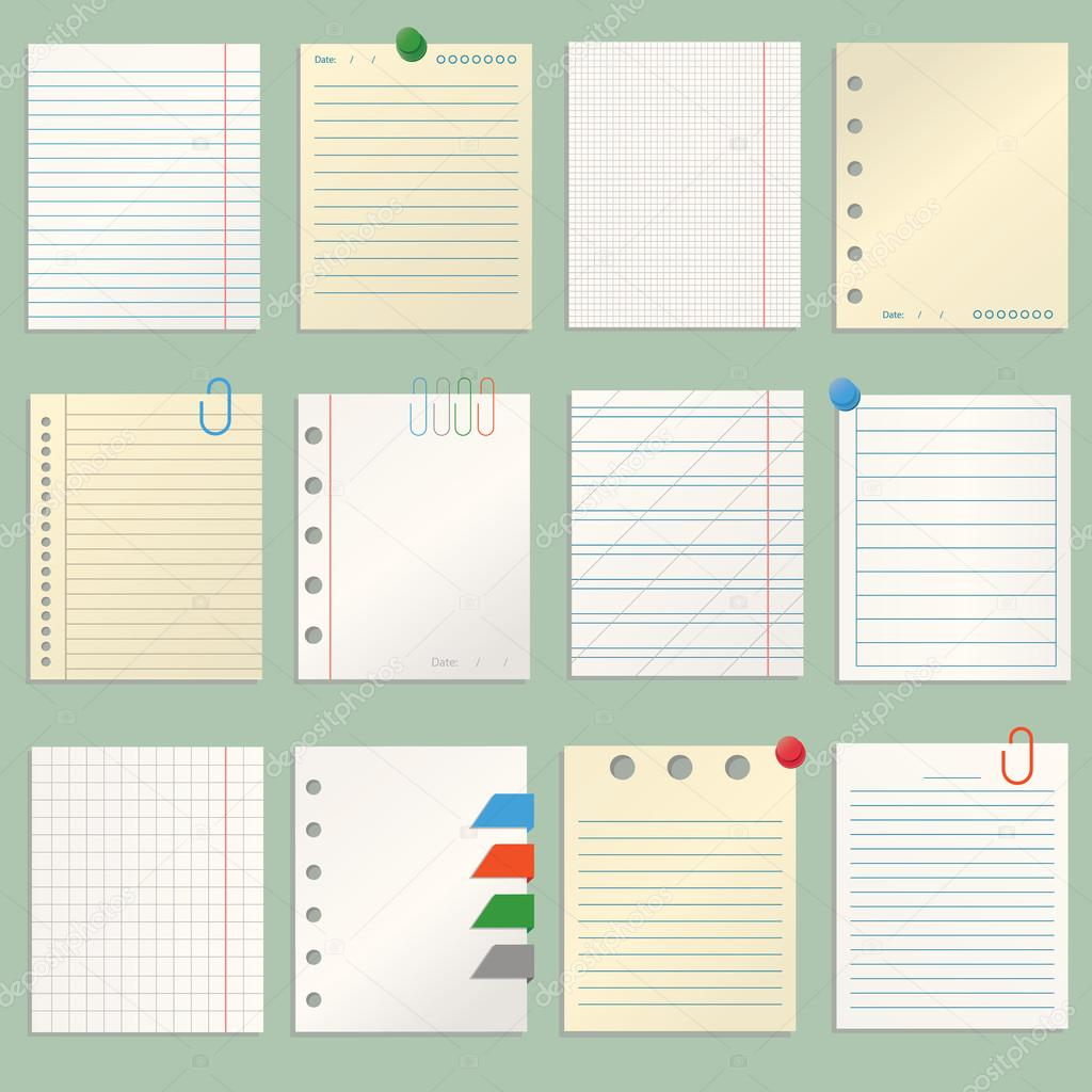 modern vector illustration of different sheets of note papers and