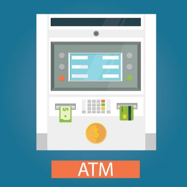 Modern vector illustration of ATM machines with coin, credit card and cash