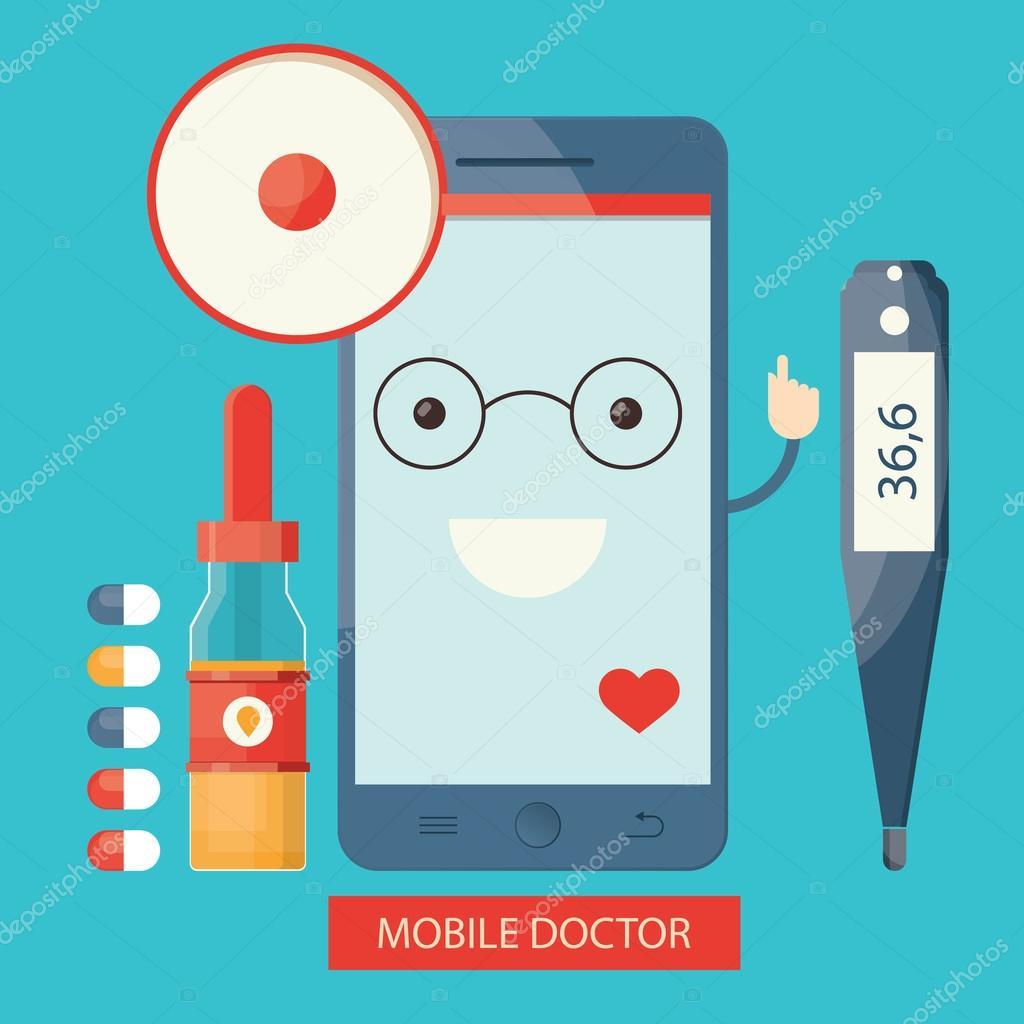 Moderni servizi sanitari mobili, online dell — Vettoriali ...