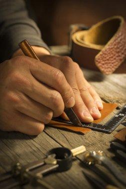 Handmade leather - - Stock Image stock vector