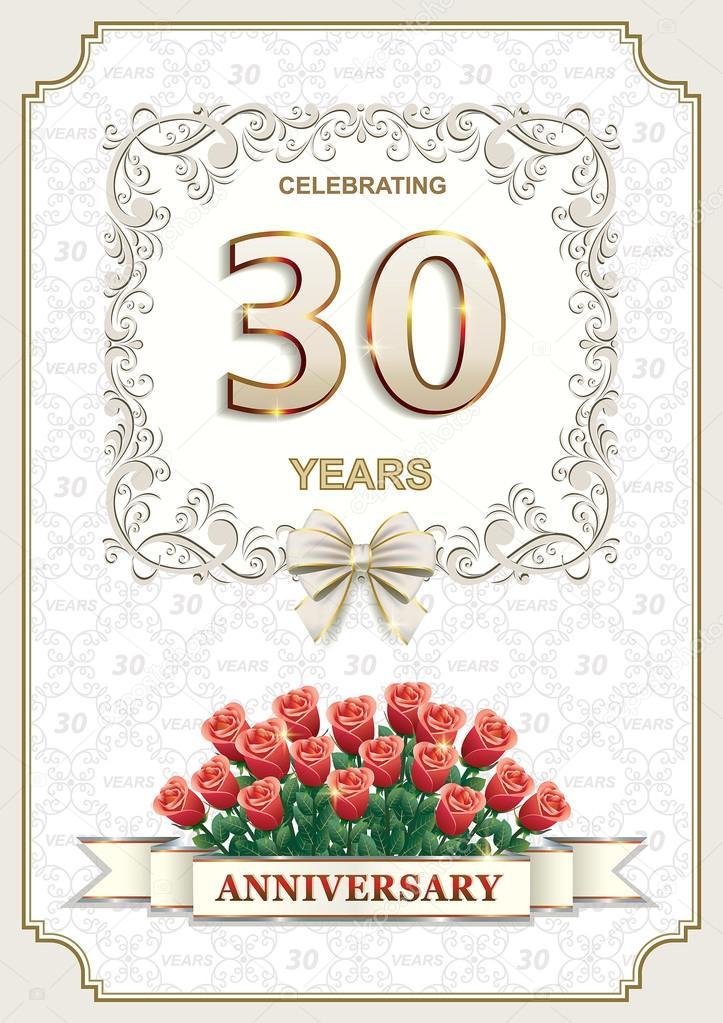 Hochzeitstag 30 Jahre | 30 Jahre Jubilaum Karte Mit Rosen Stockvektor C Seriga 100749160