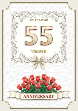55 years Anniversary card with roses
