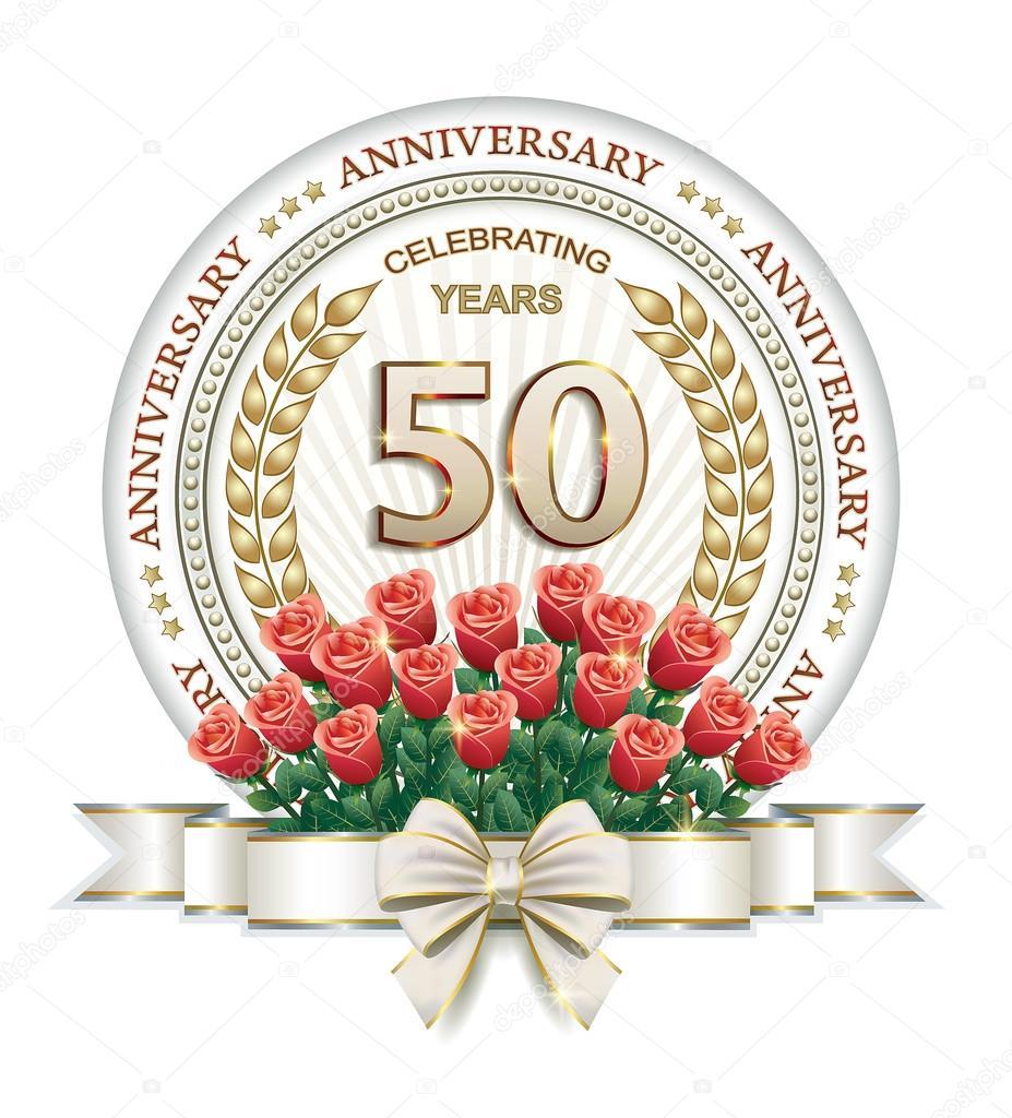 50 års jubileum 50 års jubileum kort med rosor — Stock Vektor © seriga #103379128 50 års jubileum