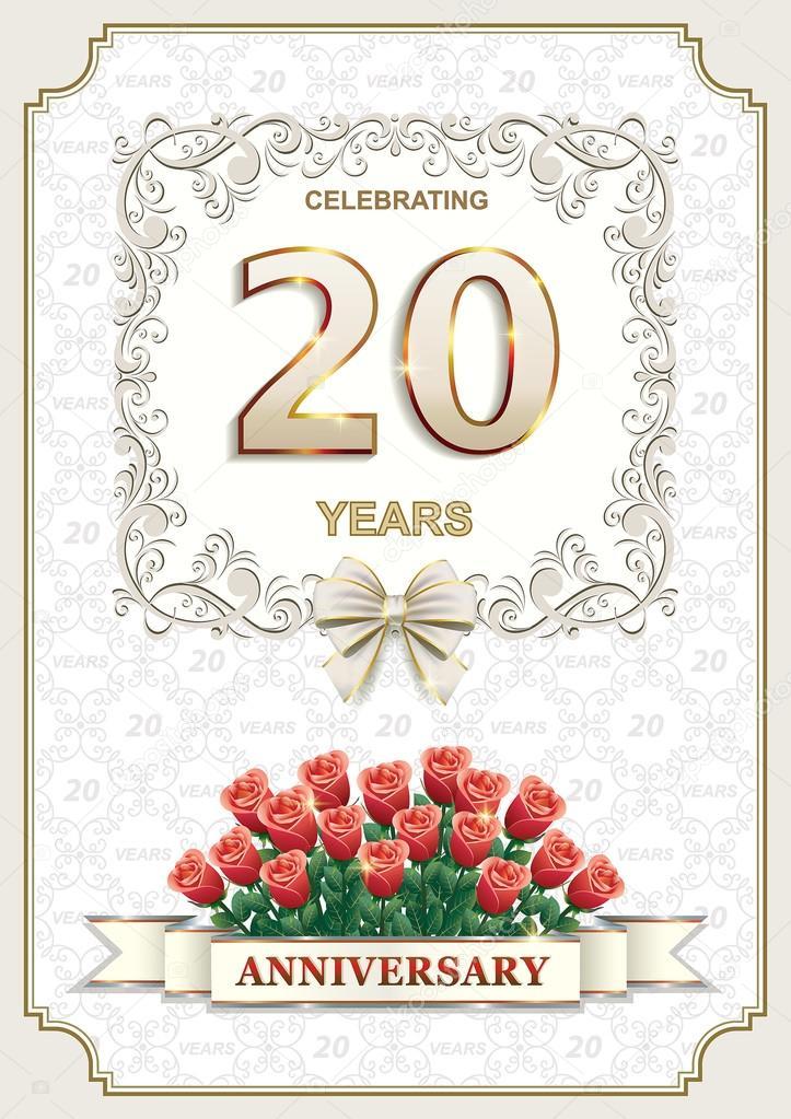 Buon 20 Anniversario Di Matrimonio.Scheda Di Anniversario Di 20 Anni Con Le Rose Vettoriali
