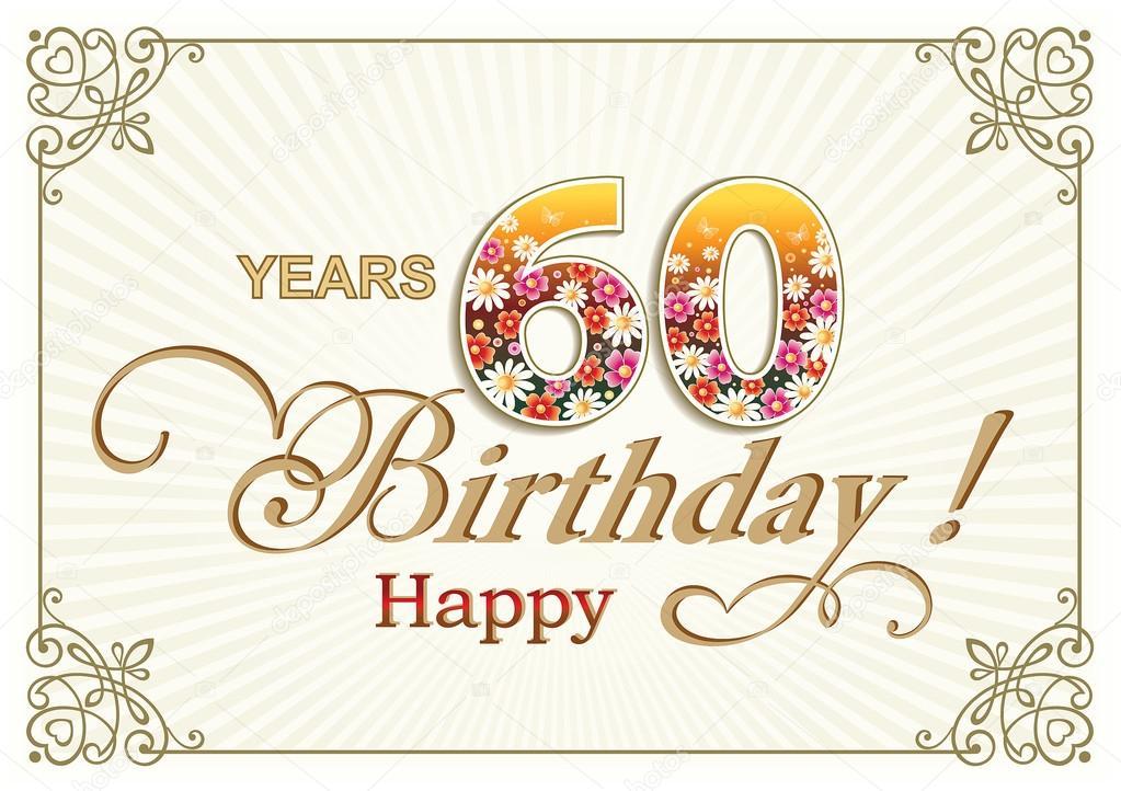 Cartolina D Auguri Compleanno 60 Anni Vettoriali Stock Seriga