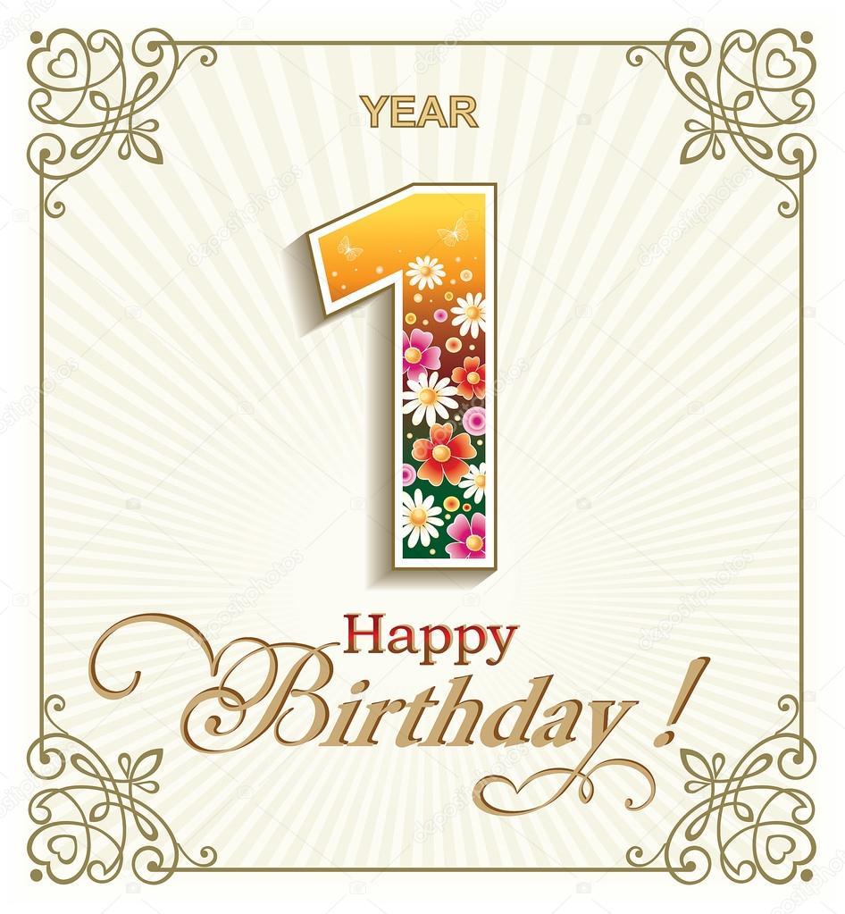 Tarjeta de felicitación de cumpleaños 1 año — Vector de stock ...