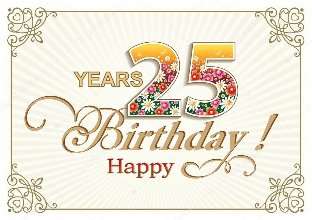 Eccezionale Cartolina d'auguri compleanno 25 anni — Vettoriali Stock © seriga  KJ91