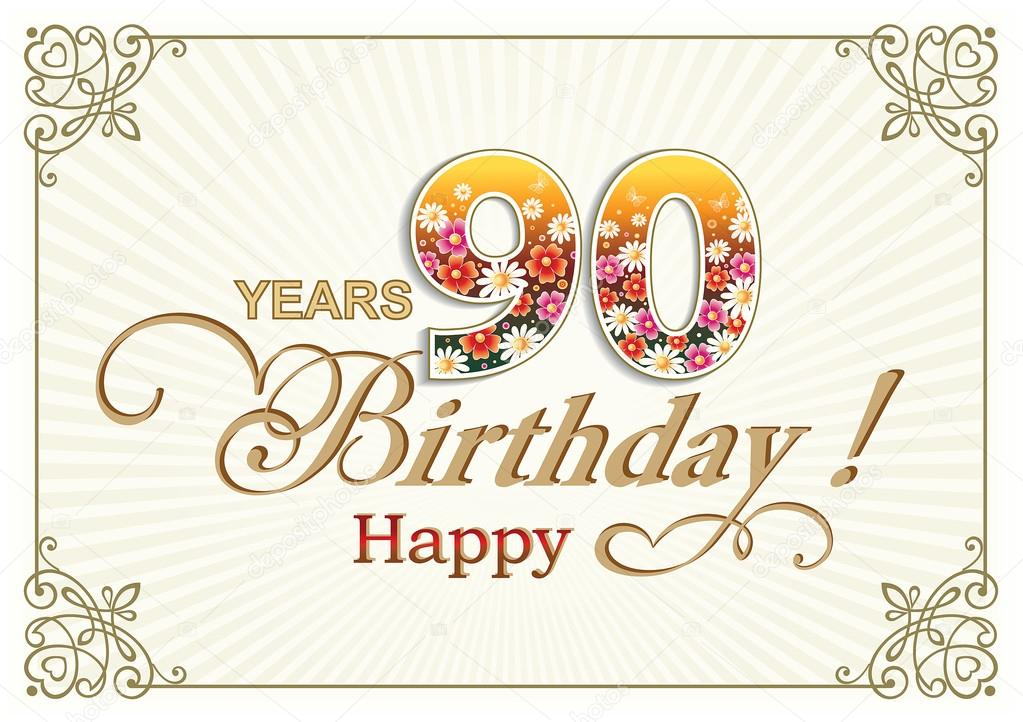 Bedwelming Wenskaart verjaardag 90 jaar — Stockvector © seriga #105921200 #EE23