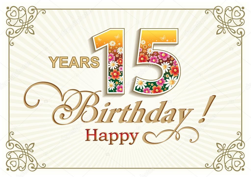 Fabuleux Cartolina d'auguri di compleanno 15 anni — Vettoriali Stock  FG52