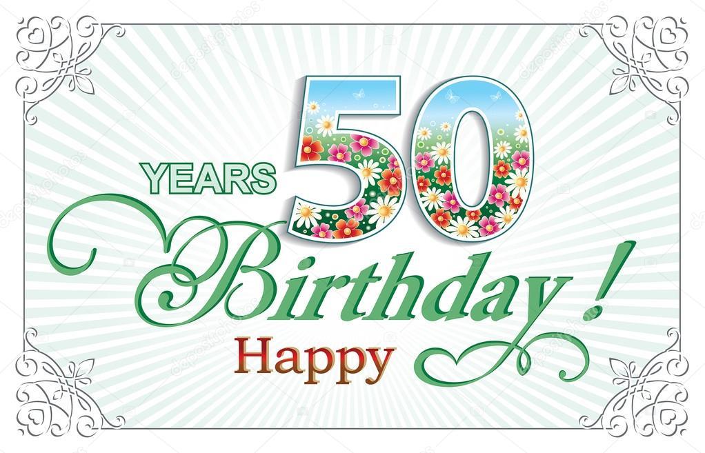 Grußkarte Geburtstag 50 Jahre — Stockvektor © seriga #107276800